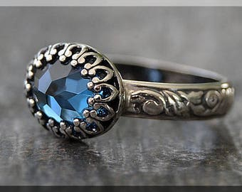 Sterling Silver Oval Birthstone Ring, Gemstone Statement Ring, Oval Crown Bezel Ring, Floral Shank Ring, Choose Your Birthstone