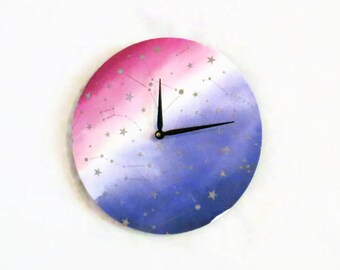 Constellation Wall Clock, Watercolor Wall Art, Home and Living, Home Decor, Clocks, Metallic Silver Stars, Astrology, Astronomy