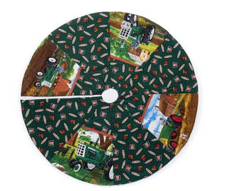Oliver Tractor Tree Skirt Reversible
