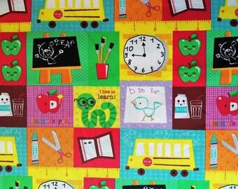 Cotton Twill School Theme Fabric