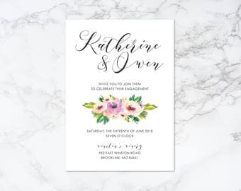 Printable Watercolor Floral Engagement Invitation