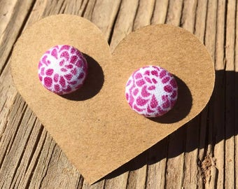 Small Floral Design Fabric Button Earrings - Floral Button Earrings - Flower Print Fabric Earrings - Luxie Creations Earrings