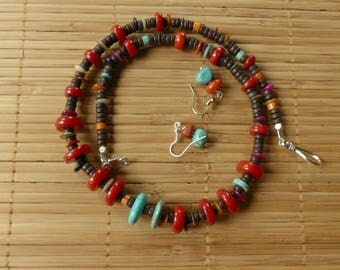 21 Inch Southwestern Blue Turquoise, Red Coral, MOP, and Wooden Bead Necklace with Earrings