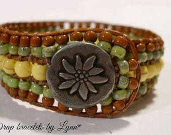 Beaded Cuff Bracelet, Beaded Leather Cuff - 911