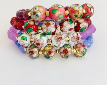 Cloisonne Beaded Bracelet-Cloisonne Bracelet-Vintage Bracelet-Chinese Cloisonne Bracelet-Chinese Bracelet-Gift For Her-Asian Bracelet-