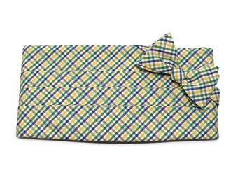 Mardi Gras Cummerbund & Bow Tie~Mens Cummerbund Set~Tattersall Bow Tie~Mens Formal Wear~Groomsmen~Groom~Self Tie Bow Tie~Men Gift~Wedding~