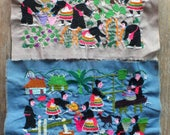 2, Vintage Hmong fabric Handmade Fabrics, handmade tapestry textiles, hill tribal fabric