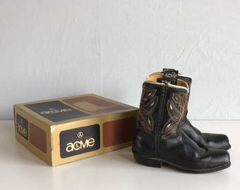 Vintage 60s Cowboy Boots / Kids Leather Acme Boots Black Cut Outs / Cowgirl Boots Size 8