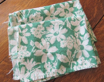 vintage feed sack fabric apron remnants -- green and white floral print