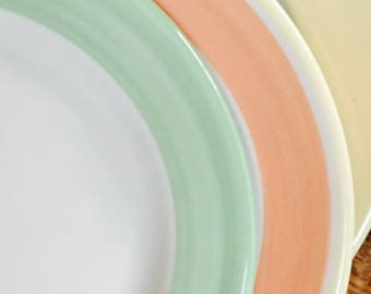 Three Dessert Plates Lime Green, Lemon Yellow, Creamsicle Orange by Sterling China and Homer Laughlin, 1990s