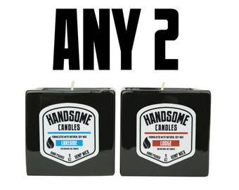 Sam's Natural - ANY 2 Handsome Candles - Soy Wax - Gifts - Natural, Vegan + Cruelty-Free
