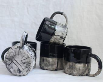 Fade Mug Black and White Porcelain, Coffee Mug Ready to Ship