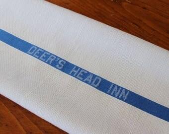 Vintage Linen Hotel Towel Deer's Head Inn White Blue Stripe Adirondacks Historic Cannon