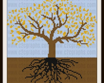 Tree of Life Autumn 1 Afghan, C2C Graph, Written Word Chart, Crochet Pattern