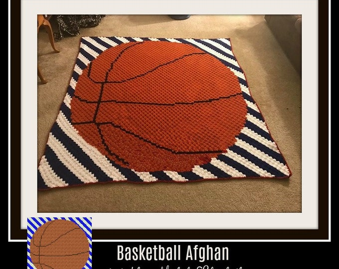 Featured listing image: Basketball Stripes Afghan, C2C Graph, Written Word Chart