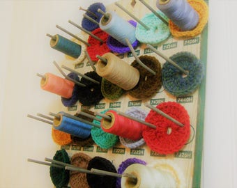 Thread and Sewing Supplies Holder from Recycled Auto Parts Display Board from Old Country Hardware Store.  Sewing and Craft Room Organizer.