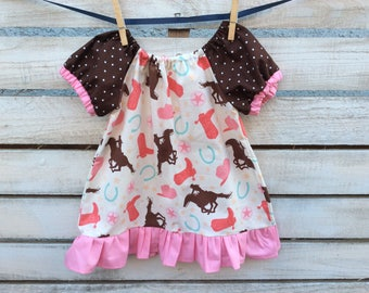 Cowgirl Peasant Dress, Girls Western Dress, Pink Girl Cowgirl Dress