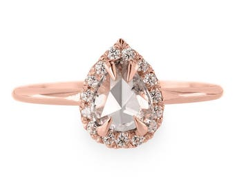 0.52 Carat Pear Shaped Clear Rose Cut Halo Engagement Ring, 14k Rose Gold