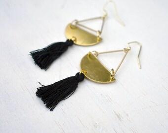 Tassel Curve Earrings // Brass //