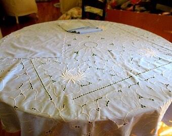 "TABLECLOTH  w 8 Napkins Cornflower blue w White Embroidery Round  60"" Diam"
