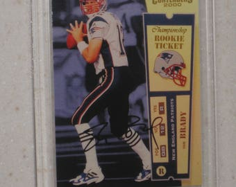 2000 playoff contenders tom brady auto # 12/100 New England Patriots RC card in screwdown case