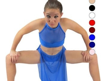 SALE Group lyrical modern dance costumes - choose your color - dance costumes - mesh halter and skirt