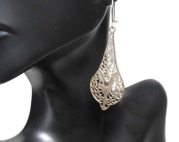 FREE SHIPPING Filigree teardrop earrings, silver plated or 800 silver, intricate, kidney backs, pierced drops dangles, bride bridal wedding