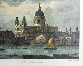 Vintage antique framed painted litografia view of London St Pauls Cathedral