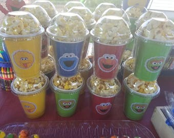 8 Sesame street, popcorn boxes, containers, party favors with clear dome lid