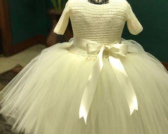Ivory short sleeve tutu dress Toddler Tutu Dress Baby Girl Dress Pageant Tutu Flower Girl Tutu Dress 12-18 month Crochet Dress ready to ship