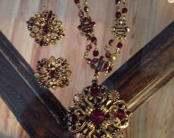 AVON Set of Necklce and Earrings with Blood red Stones