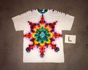 Tie Dye T-Shirt ~ Fire Mandala With White Background ~ i_8276 in Adult Large
