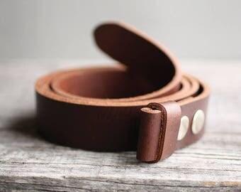 Genuine leather snap belt, BROWN snap on belt, belt strap for buckle, Handmade leather belt, gift for him, man gift idea