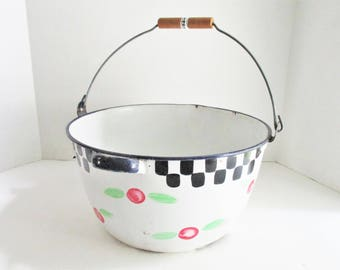 Vintage Enamelware Bucket with Handle White Cobalt Trim Hand Painted Checks Flowers