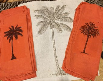 Palm Tree Art-LOT of 13-Luau Linens & Tiki Party Towels! Tea Towels-Set of Cocktail Napkins/Dishcloths/Tiki Kitchen Towels - Tropical Island