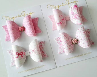 PROMO OFFER - Little Bo Peep bow set of four - Artisan fabric bow collection, Pink baby/ girl bows, hair bows, baby bows,