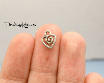 Heart Charms, Bulk 80 Charms, Antique Silver Tiny Charms 10 x 8 mm Double Sided U.S Seller - ts969