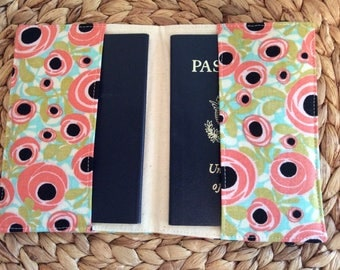 Family Passport Holder, 1-4 Passports Will Fit,  International Travel, Floral Posies Travel Accessory, Cruise Fly