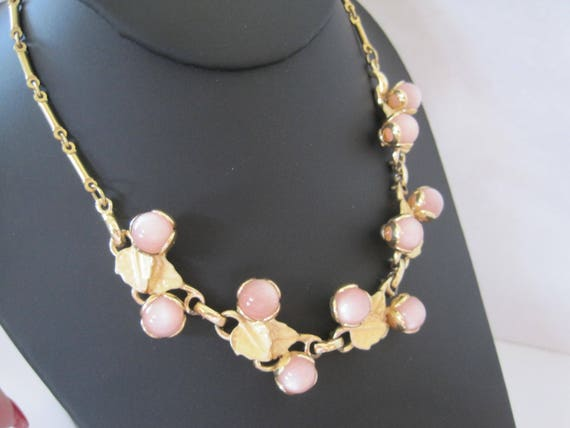 Pink Moonglow Choker - Gold Enamel Leaves - Lucite Stones - Wedding Choker