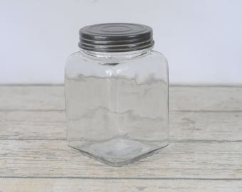 Large Decorative Clear Square Glass Jar Canister Lid Craft Storage