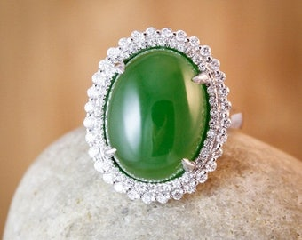 FLASH SALE Heirloom AAA Grade Nephrite Jade Diamond Ring - Engagement Ring - Diamond Halo Setting