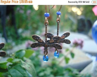 Summer Wedding SALE Dragonfly Jewelry, Handmade Dragonfly Earrings, Delicate & Detailed  Dragonflies with Dew drops of Indigo  Glass Ships F