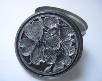 Vintage Metzke Pewter Flower Lidded Tin 1978