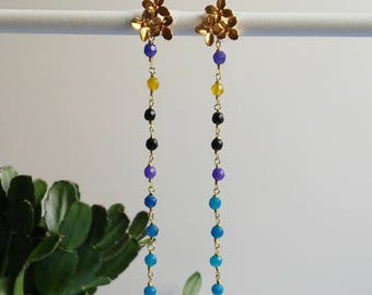 Blue and Black colored gemstone earrings