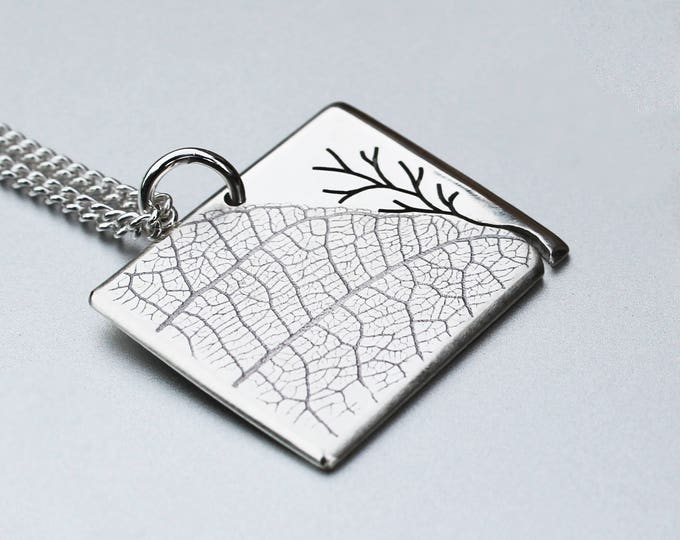 Silver Leaf and Tree Pendant, Silver Jewelry, Silver Jewellery, Silver Pendant, Landscape Pendant.