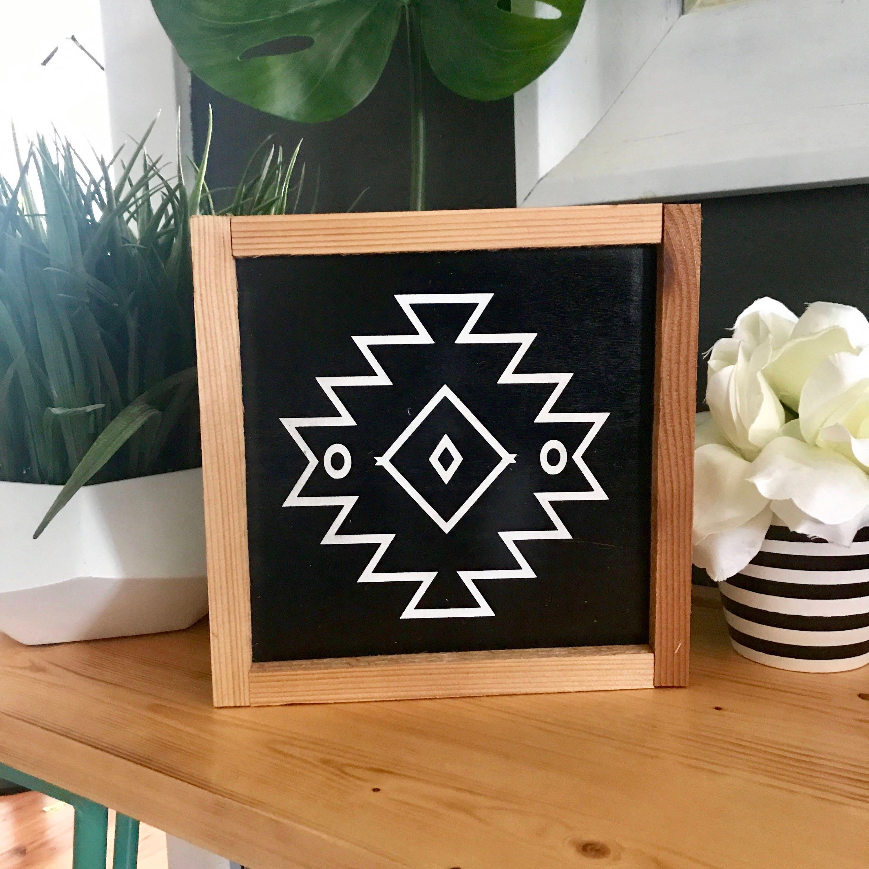 Aztec Sign. Modern Home Decor. Minimalist Design. Four Choices
