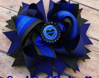 Back the blue double stacked boutique bow