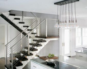 Summer Promo 12 Pendant Industrial Chic Chandelier With Exposed Bulbs - Kitchen Lighting, Modern Chandelier