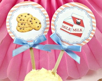 Cookies & Milk Cupcake Toppers (10) Cupcake Picks-Birthday Party-Food Pick-Baby Shower-Cookies and Milk Party