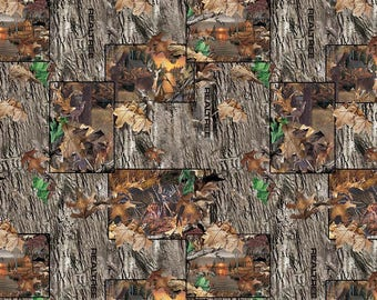 RealTree Cotton Fabric with Lakeside Sunset Patches-Realtree Camo Cotton Fabric-Sold By the Yard-100% Cotton